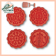 image of EzyMix 63gm 4pcs RD Mooncake Mould (18-63R/4G)