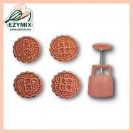 image of EzyMix 125gm 4pcs RD Mooncake Mould (18-125R/4D)
