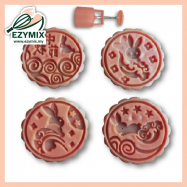 image of EzyMix 125gm 4pcs RD Mooncake Mould (18-125R/4C)