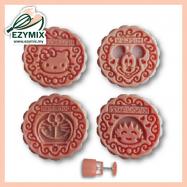 image of EzyMix 125gm 4pcs RD Mooncake Mould (18-125R/4B)