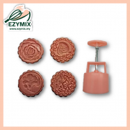image of EzyMix 125gm 4pcs RD Mooncake Mould (18-125R/4Q)