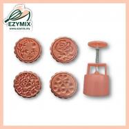 image of EzyMix 125gm 4pcs RD Mooncake Mould (18-125R/4P)