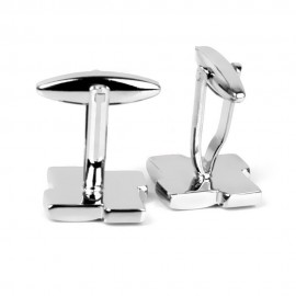 image of Cindiry Men's Business Unique Cufflinks (1 Pair) - Silver