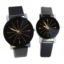 image of Men's Women's Casual PU Leather Strap Round Dial Couples Quartz Watch