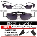 Tagion Men's Cool Dark Polarized Sunglasses (Black)