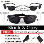 TAGION Men's Fashion UV Semi-Rimless Sunglasses (Black/Gray)