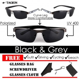 image of TAGION Men's Fashion UV Semi-Rimless Sunglasses (Black/Gray)