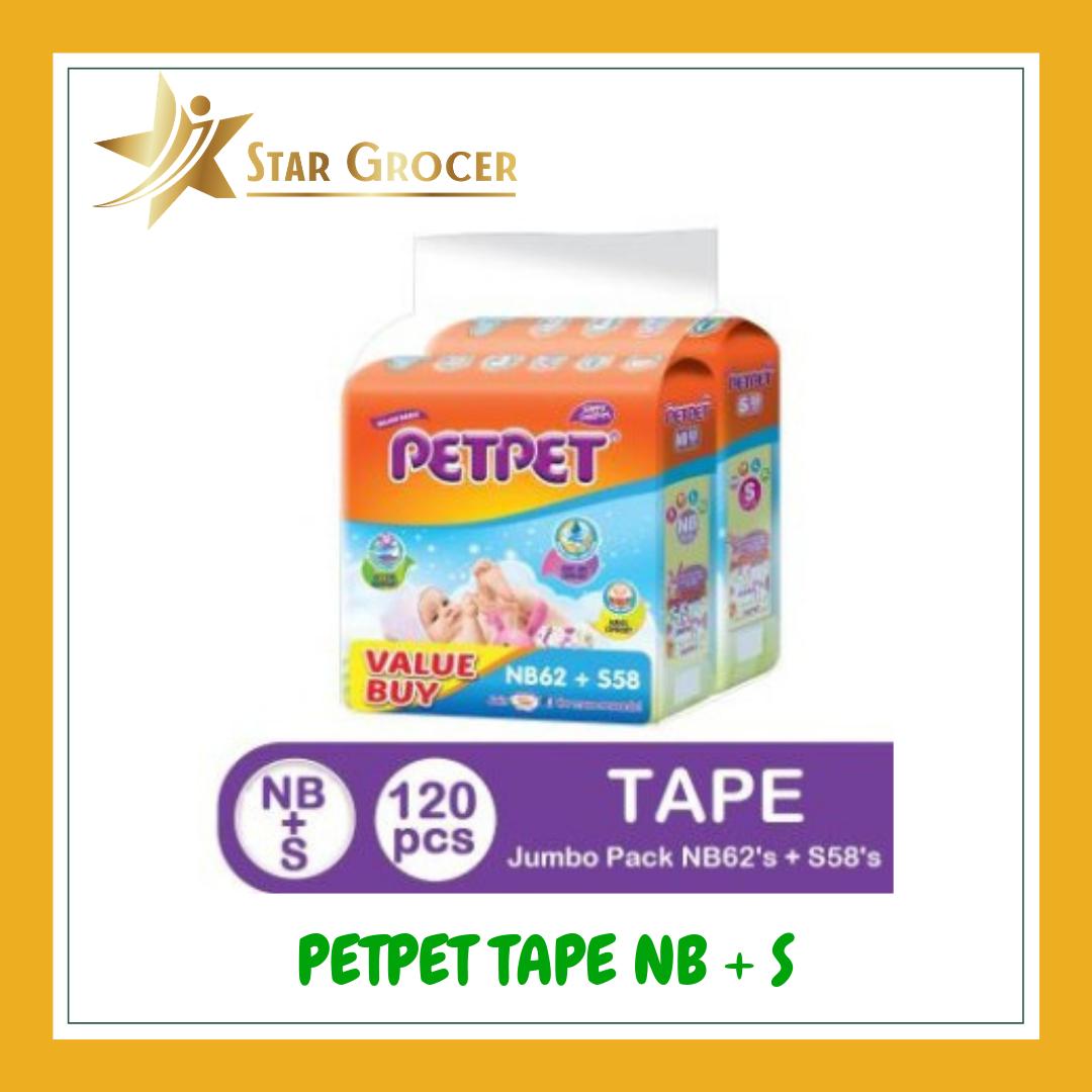 image of PetPet Tape Diaper Jumbo NB62 + S58 *Value Buy*