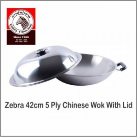image of (100% Original) Zebra Stainless Steel 42cm 5 Ply Chinese Wok With Lid