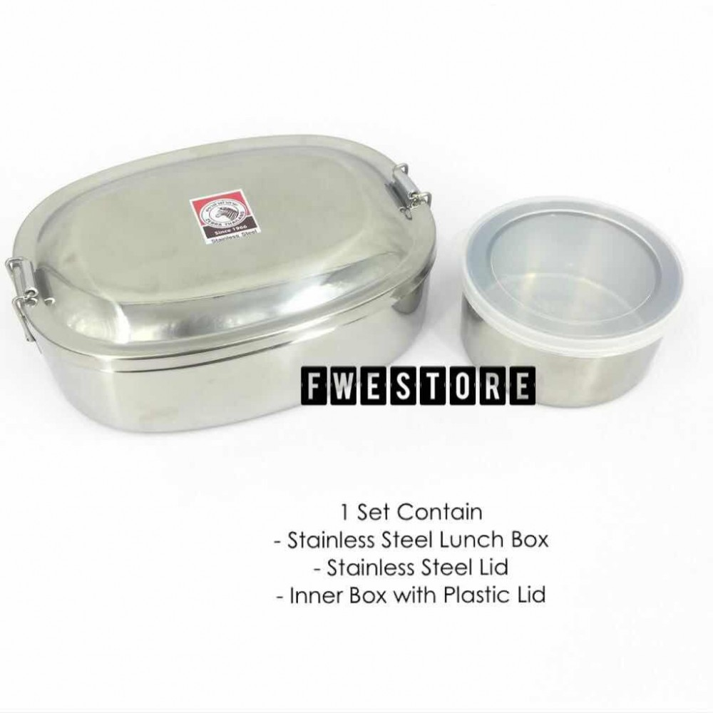 (100% Original) Zebra Stainless Steel 16cm Lunch Box With Inner Box (780cc)