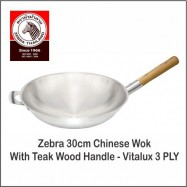 image of (100% Original) Zebra Stainless Steel 30cm Chinese Wok W/Teak Wood Handle -3 PLY