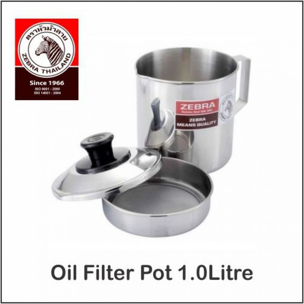 (100% Original) Zebra Stainless Steel Oil Filter Pot With Spout 1Litre