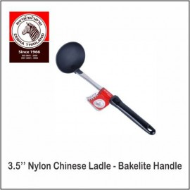 "image of (100% Original) Zebra Stainless Steel 3.5"" Nylon Chinese Ladle - Bakelite Handle"