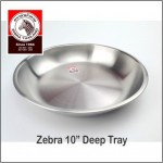 "(100% Original) Zebra Stainless Steel 10"" Deep Tray"