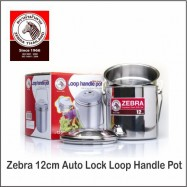 image of (100% Original) Zebra Stainless Steel Auto Lock Loop Handle Pot (12/14/16cm)