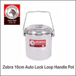 (100% Original) Zebra Stainless Steel Auto Lock Loop Handle Pot (12/14/16cm)