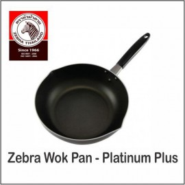 image of (100% Original) Zebra Stainless Steel Non Stick Wok Pan -Platinum Plus (24/28cm)