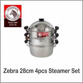 image of (100% Original) Zebra Stainless Steel 4pcs Steamer Set (28/32cm)