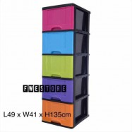 image of Century 5 Tier Plastic Drawer / Cabinet / Storage Cabinet Multi Color B9650MC