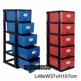 image of Auxpoint Stocker 5 Tier Plastic Drawer / Cabinet / Storage Cabinet SKM0835