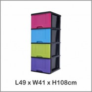 image of Century 4 Tier Plastic Drawer / Cabinet / Storage Cabinet Multi Color B9640MC