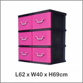 image of Century Double 3 Tier Plastic Drawer / Cloth Cabinet / Storage Cabinet B9230