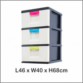 image of Century 3 Tier Plastic Drawer / Plastic Cabinet / Storage Cabinet B3130