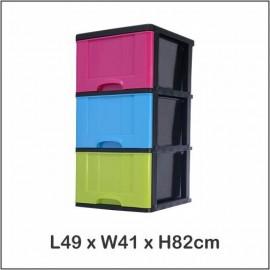 image of Century 3 Tier Plastic Drawer / Cabinet / Storage Cabinet Multi Color B9630MC