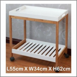 image of 2 Layers Kitchen Trolley / Restaurant Trolley (MDF With Bamboo)