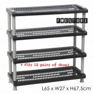 image of Century 4 Tier Shoe Rack / Shoe Storage / Shelf Storage 2289-B