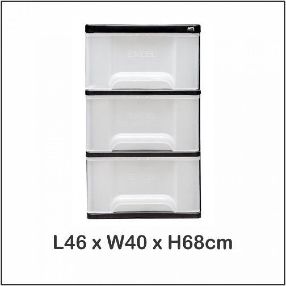 Century 3 Tier Plastic Drawer / Cloth Cabinet / Storage Cabinet 1730