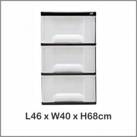 image of Century 3 Tier Plastic Drawer / Cloth Cabinet / Storage Cabinet 1730