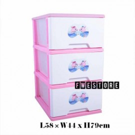 image of Twins Dolphin Pink Color 3 Stage Plastic Drawer / Storage Cabinet