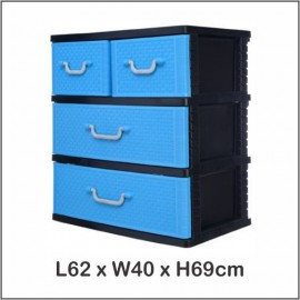 image of Century 3 Tier Plastic Drawer / Cabinet / Storage Cabinet B9330