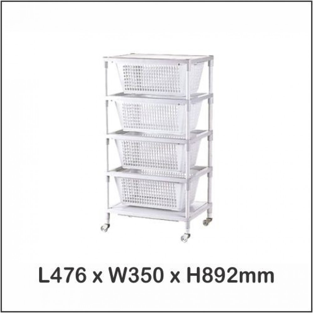 System Rack 4 Tier / Multi Purpose Rack / Storage With Wheels A-32