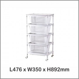 image of System Rack 4 Tier / Multi Purpose Rack / Storage With Wheels A-32