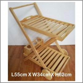 image of Assembled Trolley / Kitchen Trolley / Restaurant Trolley Pine Wood