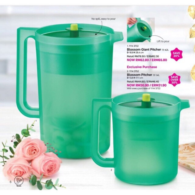 image of * Hot Sales *  Tupperware Blossom Giant Pitcher 4.2L + 1.4L