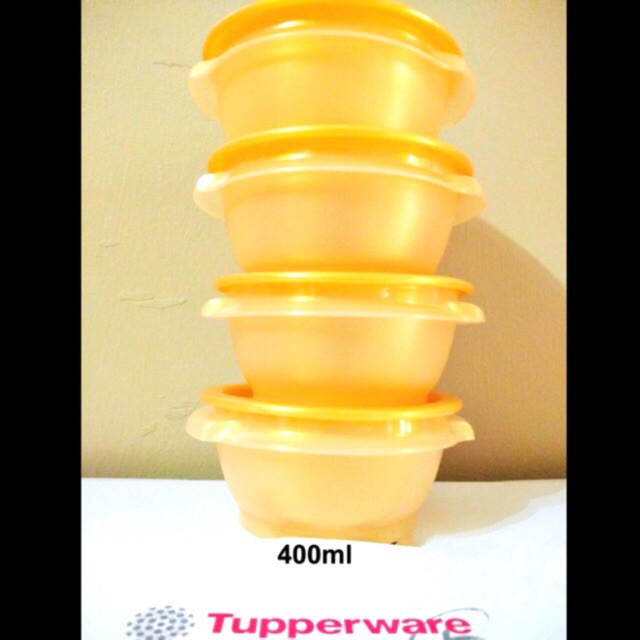 image of Tupperware Golden Prosperity One Touch Bowl (4pcs x 400ml)