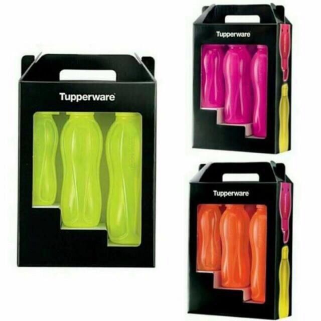 image of Tupperware Neon Eco Bottle Set Of 3 (Yellow/Pink/Orange)