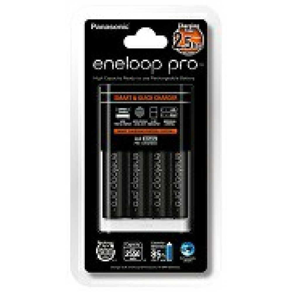 Panasonic Eneloop Pro Quick Charger 3-Color LED Indicator and 4 x AA 2550mAh Rechargeable Battery (Original)