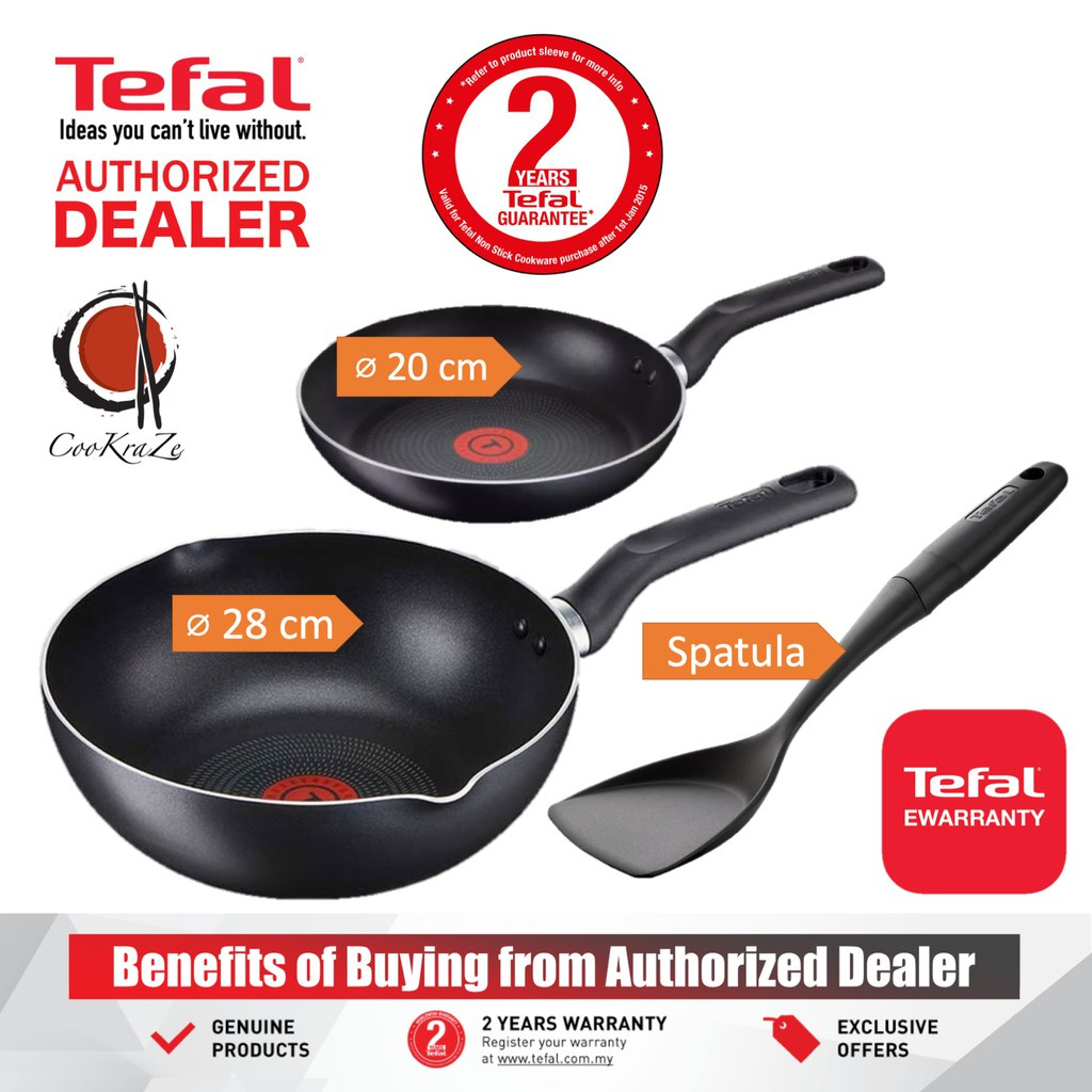 image of Tefal Super Cook 3 Piece Non Stick Set 28cm Deep Frypan + 20cm Frypan + Spatula