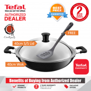 image of PREMIUM Tefal Asian Ceramic 40cm Non Stick Wok with S/S Lid C52897 FREE Spatula