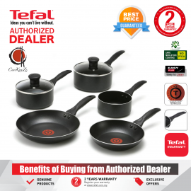image of PREMIUM Tefal Easy Care 5 piece Non Stick Cookware Set Frypan Pot Pan with Lids B179A5DI