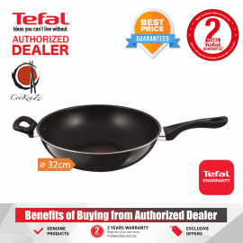 image of PREMIUM Tefal Classic 32cm Non Stick Deep Wide Wokpan Wok Stir Fry Pan Kuali with Handle A70698 A7069814