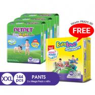 image of PetPet DayNight Pants Mega Pack, XXL size(3 packs) FOC BabyLove Playpants Regular Pack