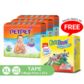 image of PetPet Tape Diaper Mega Pack, XL size(3 packs) FOC BabyLove Playpants Regular Pack X1