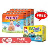 image of PetPet Tape Diaper Mega Pack, M size(3 packs) FOC BabyLove Playpants Regular Pack X1