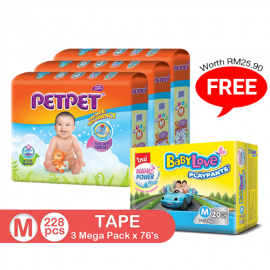image of PetPet Tape Diaper Mega Pack, M size(3 packs) FOC BabyLove Playpants Regular Pack X1