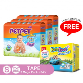image of PetPet Tape Diaper Mega Pack,S Size (3 packs) FOC BabyLove Playpants Regular Pack X1